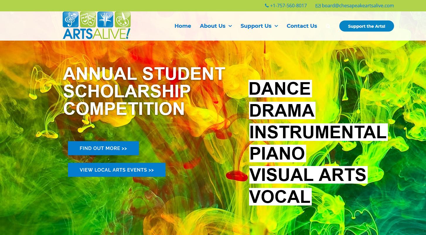 Chesapeake Arts Alive Avelex Web Design